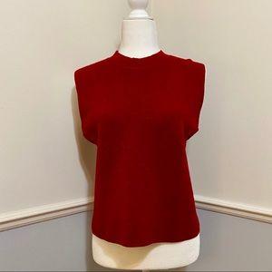Eileen fisher red mock turtleneck sleeveless